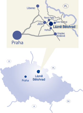 Lazne Belahrad is 70 miles north of Prague