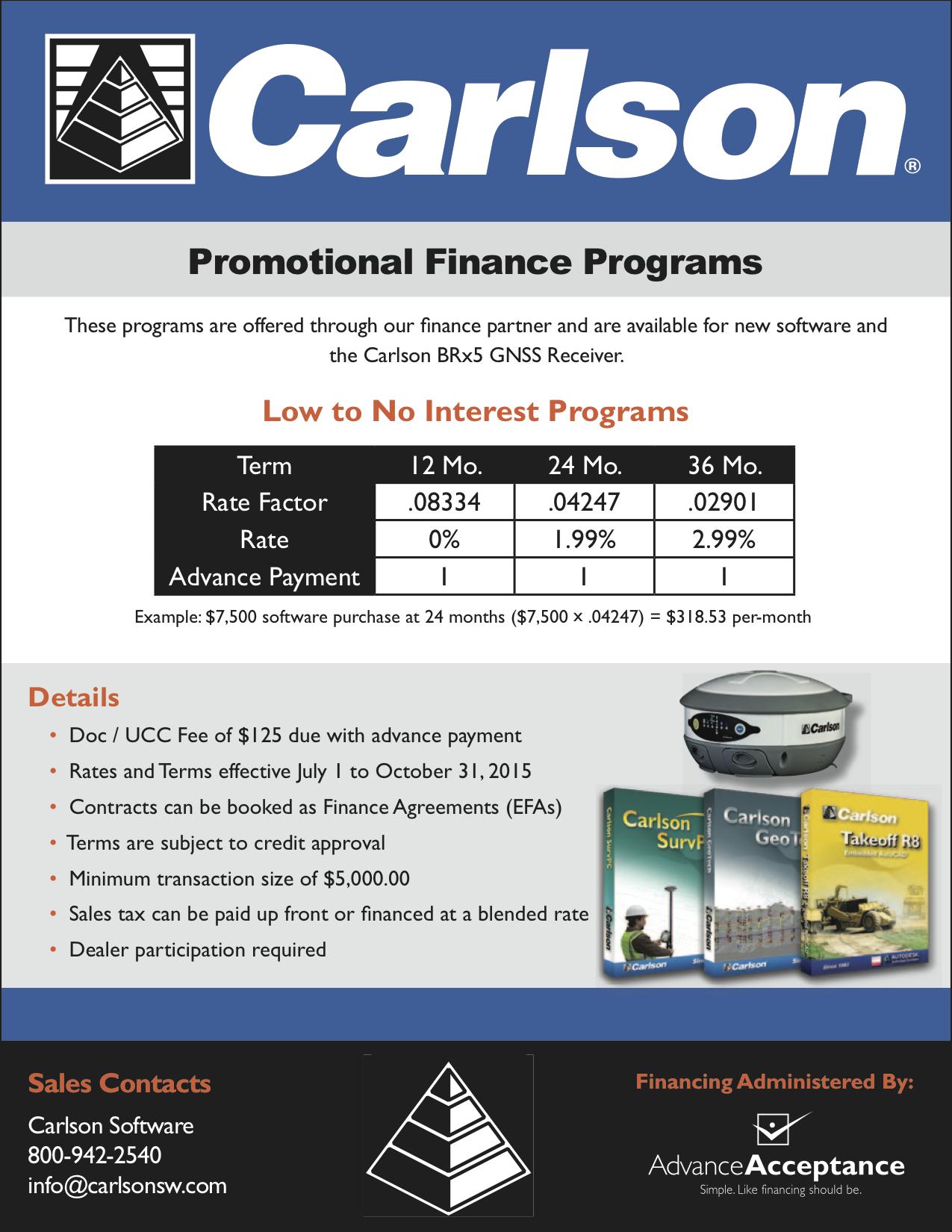 Carlson Software Promo Programs, Q3 2015 -- Advance Acceptance