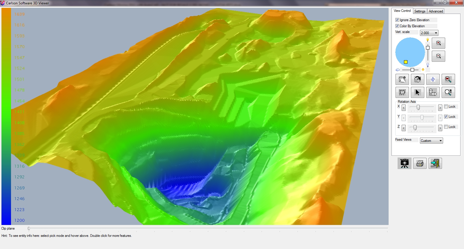 Use Carlson Surface Mining module to produce accurate color-coded 3D surface pit