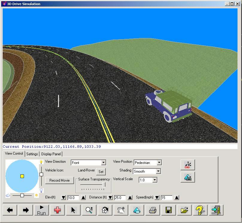 Get road design with textures, lane stripes and vehicle motion in Civil 2015