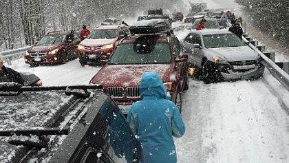 car crash snow