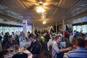 Dining on the riverboat was a unique experience.